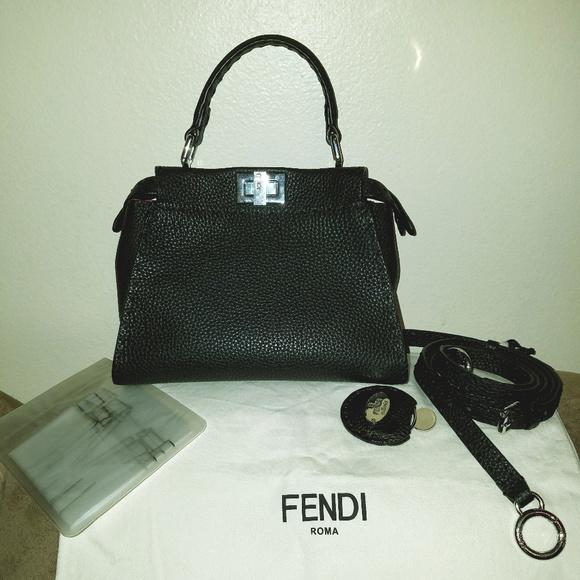 005090e8d5 Fendi Handbags - Fendi Mini Peekaboo Selleria Leather